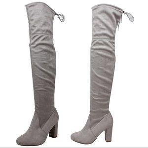 Shoes - Grey Over the knee back tie block heel boot